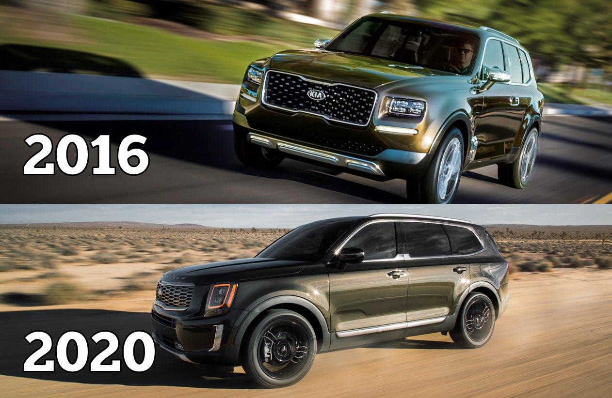 Kia Telluride Front 2020 vs Front 2016