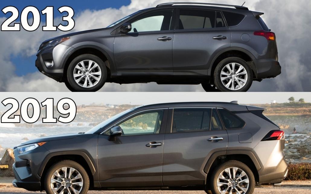Toyota RAV4 2019 vs. Toyota RAV4 2013 - Side Profile